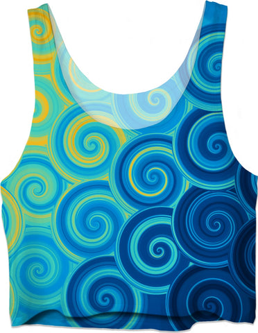 ROCT Blue Swirls Crop Top