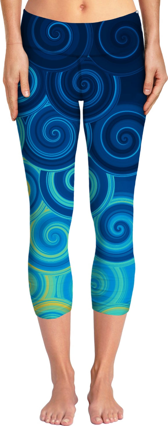 Blue Swirls Yoga Pants
