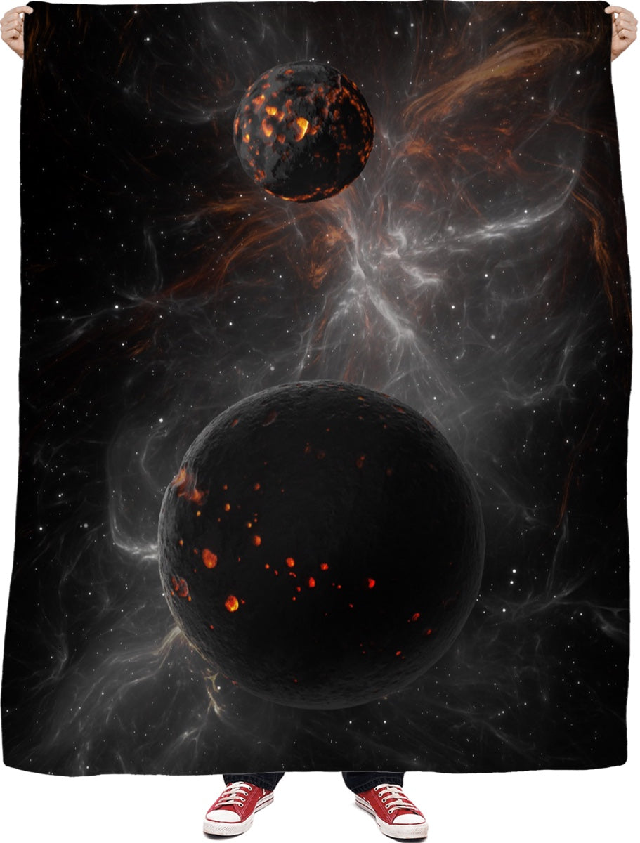 Black Universe Fleece Blanket