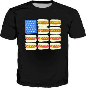 Hot Dog Flag Classic Black T-Shirt