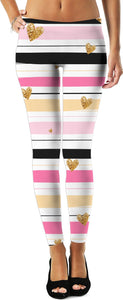 Stripes and Stars Gold Stars on Pink and Black Stripes Women's Leggings