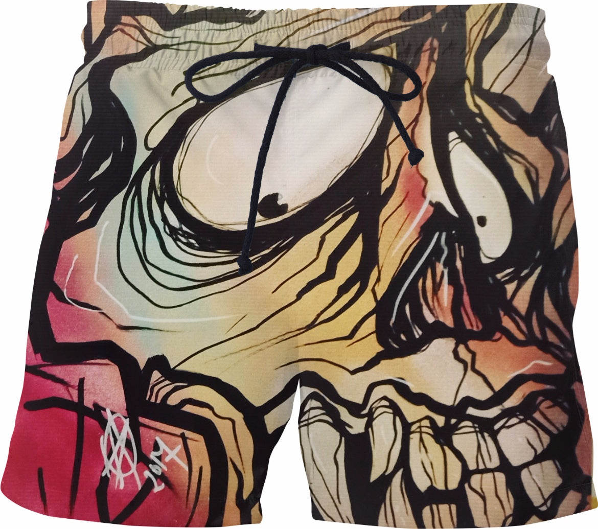 Graffiti skull ghost swim trunks