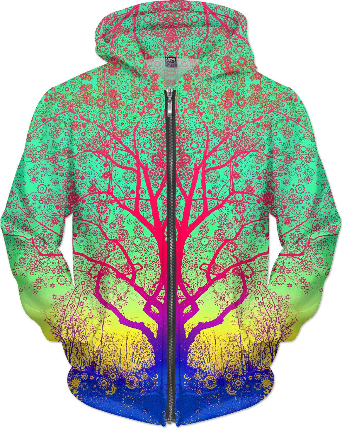 Green Star Trip Tree  Zip-Up Hoodie