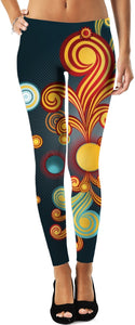 Orange Swirls Around The Sun Women's Leggings