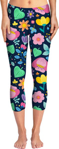 Pink Orange and Yellow Flowers Yoga Pants