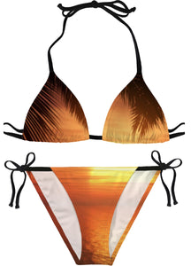 Orange Palm Trees And Sunsets Bikini
