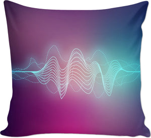 Blue Electric Waves Couch Pillow