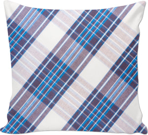 Blue Plaid Couch Pillow