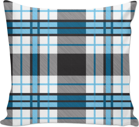 Blue And Black Flannel Inspired Couch Pillow