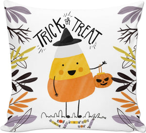 Candy Corn Trick Or Treat Halloween Pillow