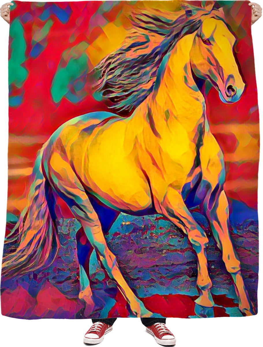 Akhal Horse Fleece Blanket