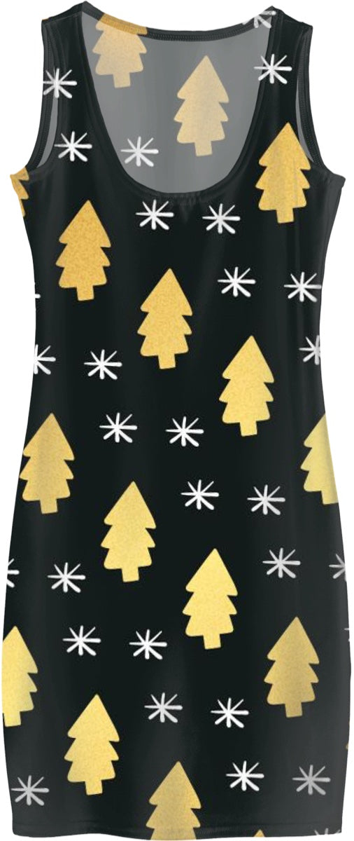 Gold Christmas Women's Dress