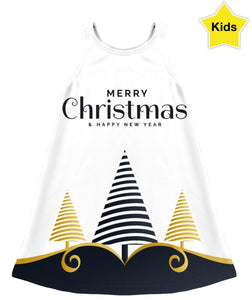 Merry Christmas Black And Gold Children's Dress