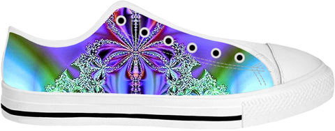 ROLT Purple Blooms Teal Low Top Shoes
