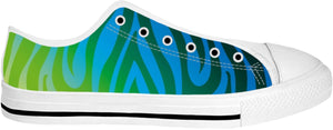 ROLT Blue And Yellow Animal Striped Low Tops