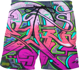 Graffiti wildstyle 911trainwreck Swim Trunks