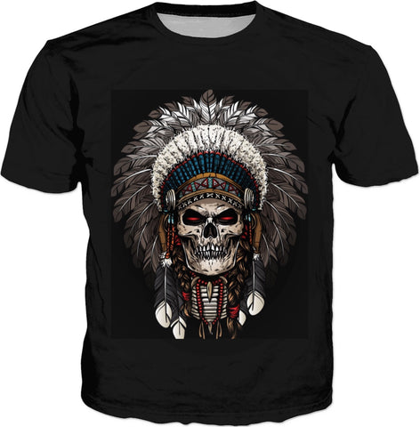 Skull And Feathers T-shirt
