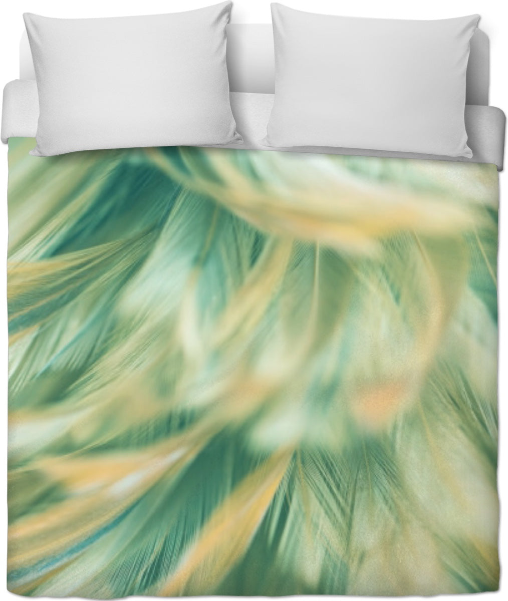 Green Feathered Duvet Cover