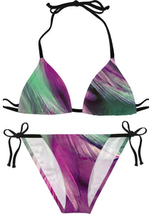 Green And Purple Feathered Bikini