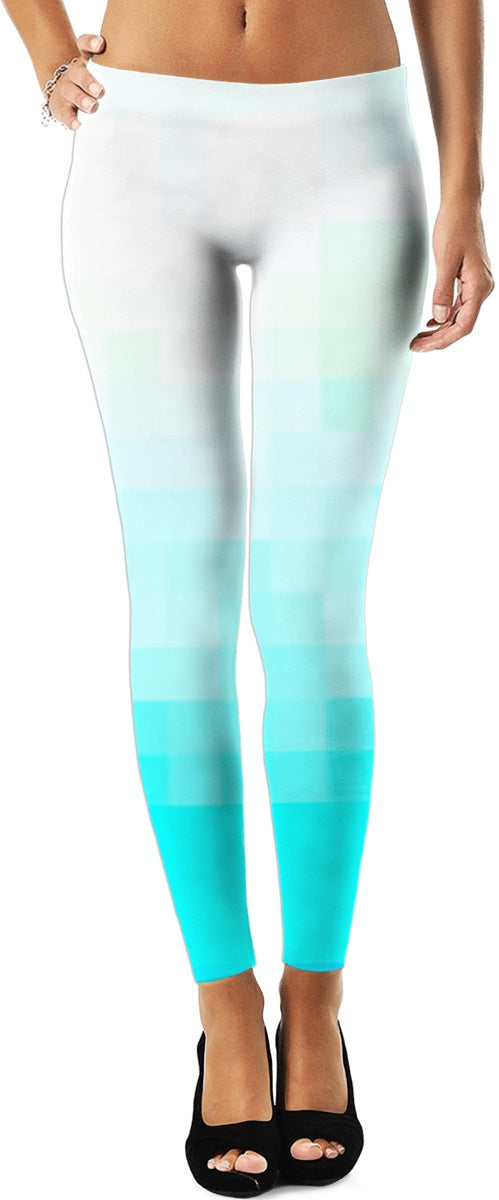 White Aqua Ombre Leggings