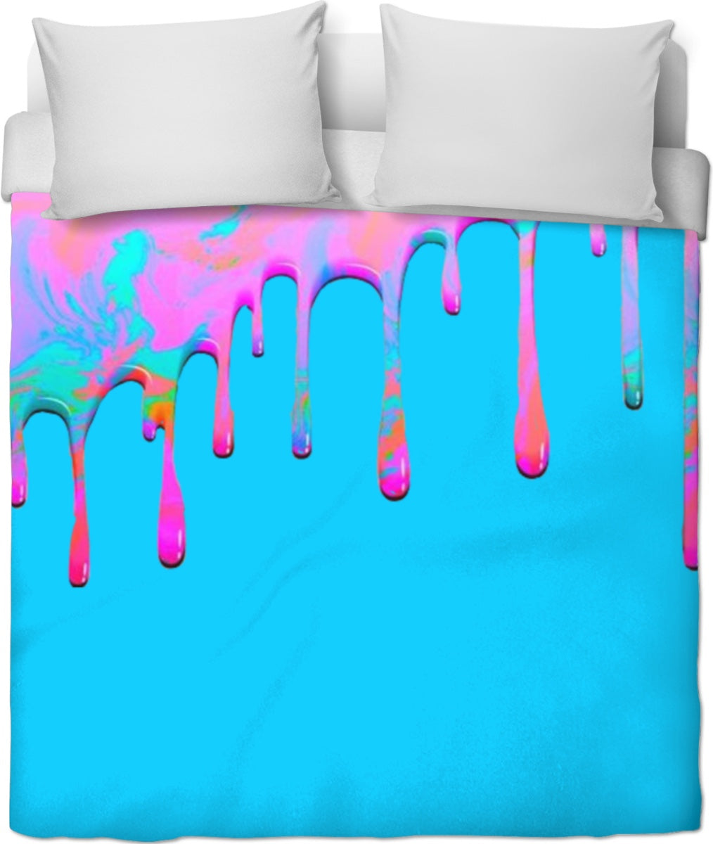 Dripping Paint Blue Duvet Cover