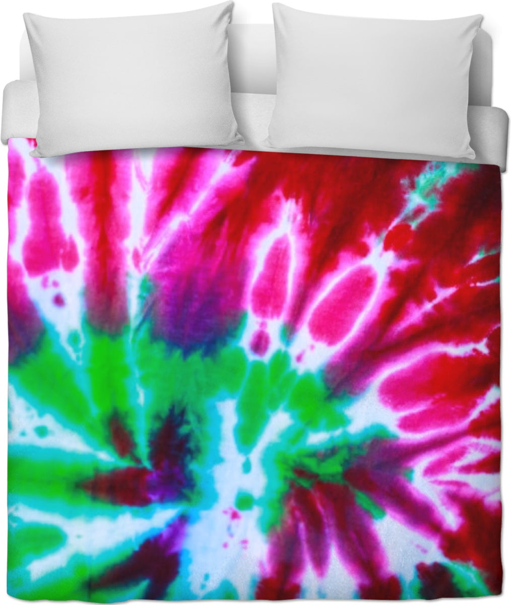 Green And Link Tie Dye Duvet Cover