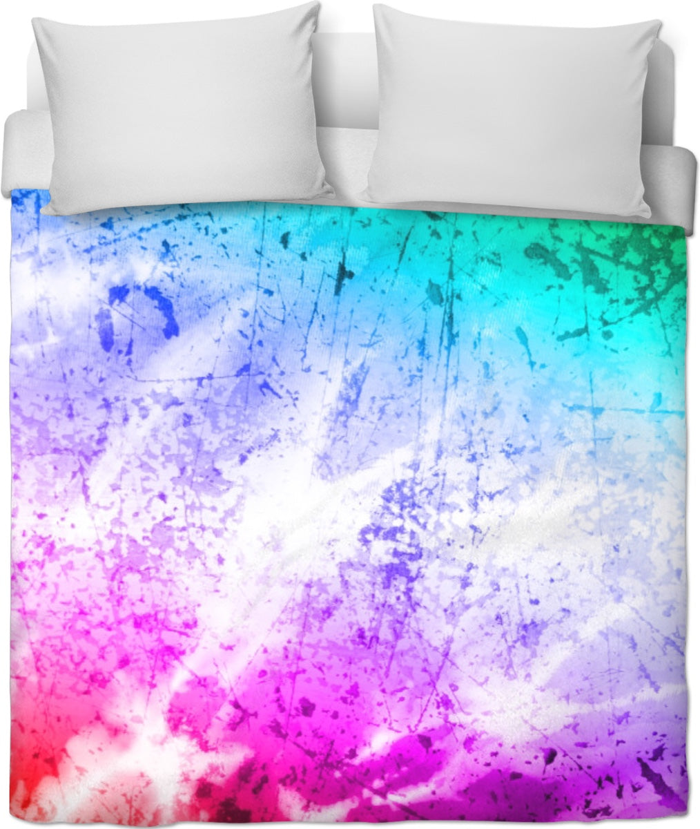 Aqua Purple And Pink Tie Due Duvet Cover