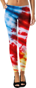 Blue, Pink And Yellow Tie Dye Leggings