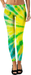 Yellow Green And Blue Tie Dye  Leggings
