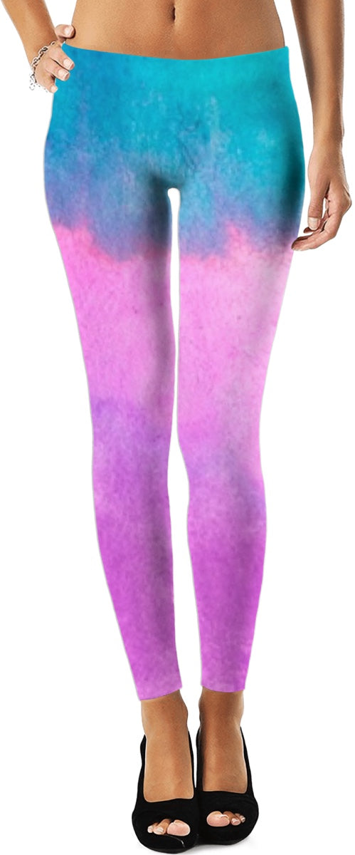 Pink And Aqua In The Clouds Leggings