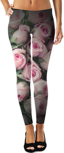 Retro Pink Rose Leggings