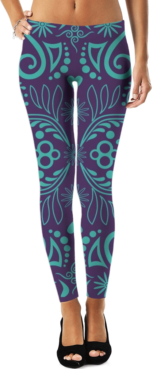 Purple And Aqua Designed Leggings