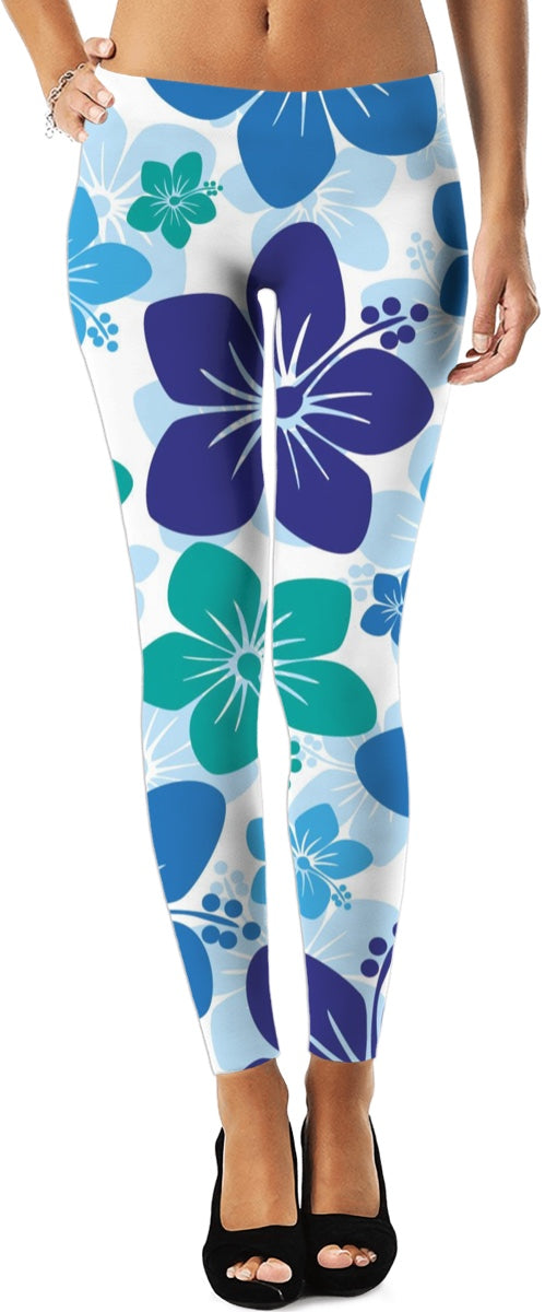 Purple And Blue Hawaiian Print Leggings