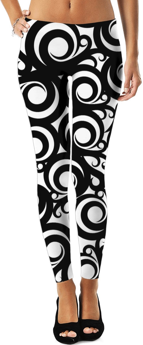 Black And White Circular Twirls Leggings/Plus Sizes Available/XS - 5XL
