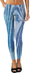 Blue Wood Painted Leggings