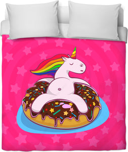Unicorns and Donuts Float Duvet Cover