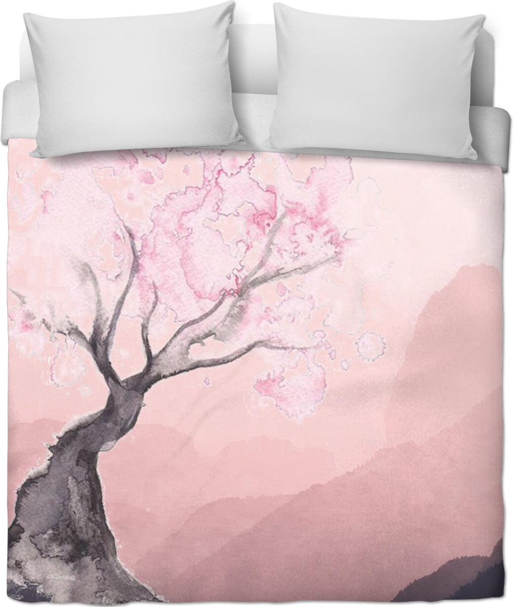 Peace And Calm Pink Duvet Cover