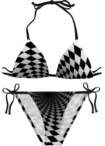 Rabbit Whole Bikini Black and White Checkered Bikini