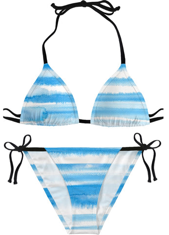 Baby Blue Watercolor Striped Bikini