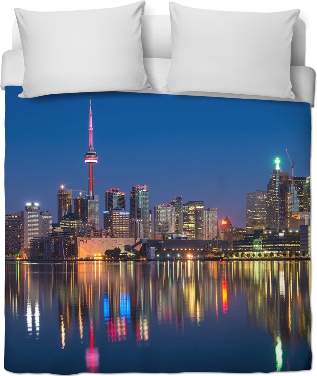 City Lights At Night Duvet Cover