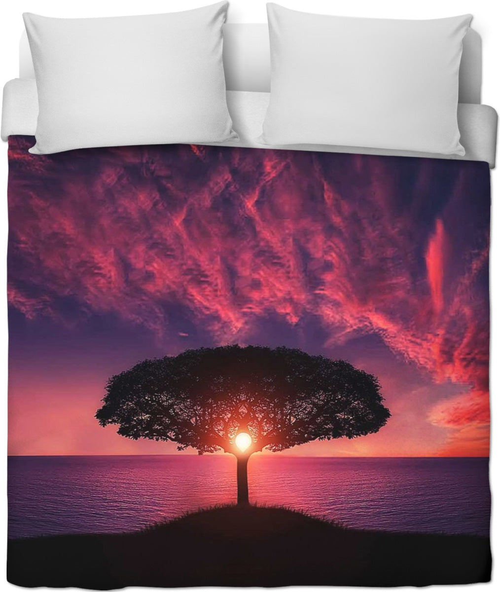 Pink Sunset Tree Duvet Cover