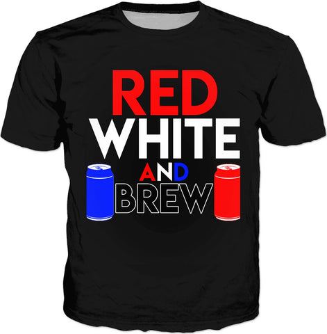 Red, White, and BREW Classic Black T-Shirt