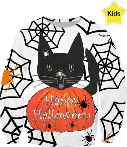 Happy Halloween Black Cat Kids Sweatshirt