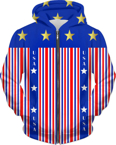Gold Stars And Stripes USA Hoodie
