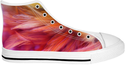 Pink And Orange Feather High Tops