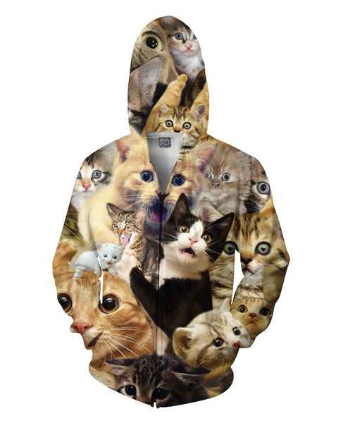 Surprised Cats Zip-Up Hoodie