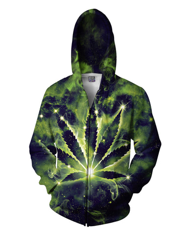 Weed Constellation Zip-Up Hoodie