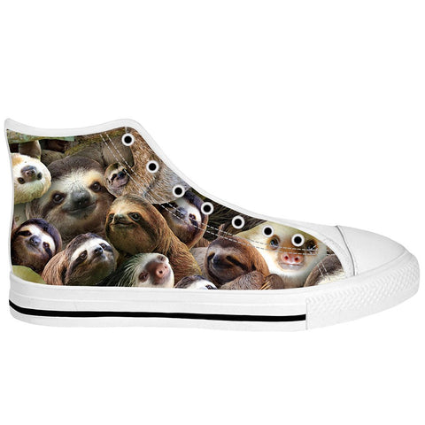Sloth Collage White Sole High Tops