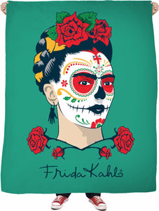 Frida Kahlo Sugar Skull Green Fleece Blanket