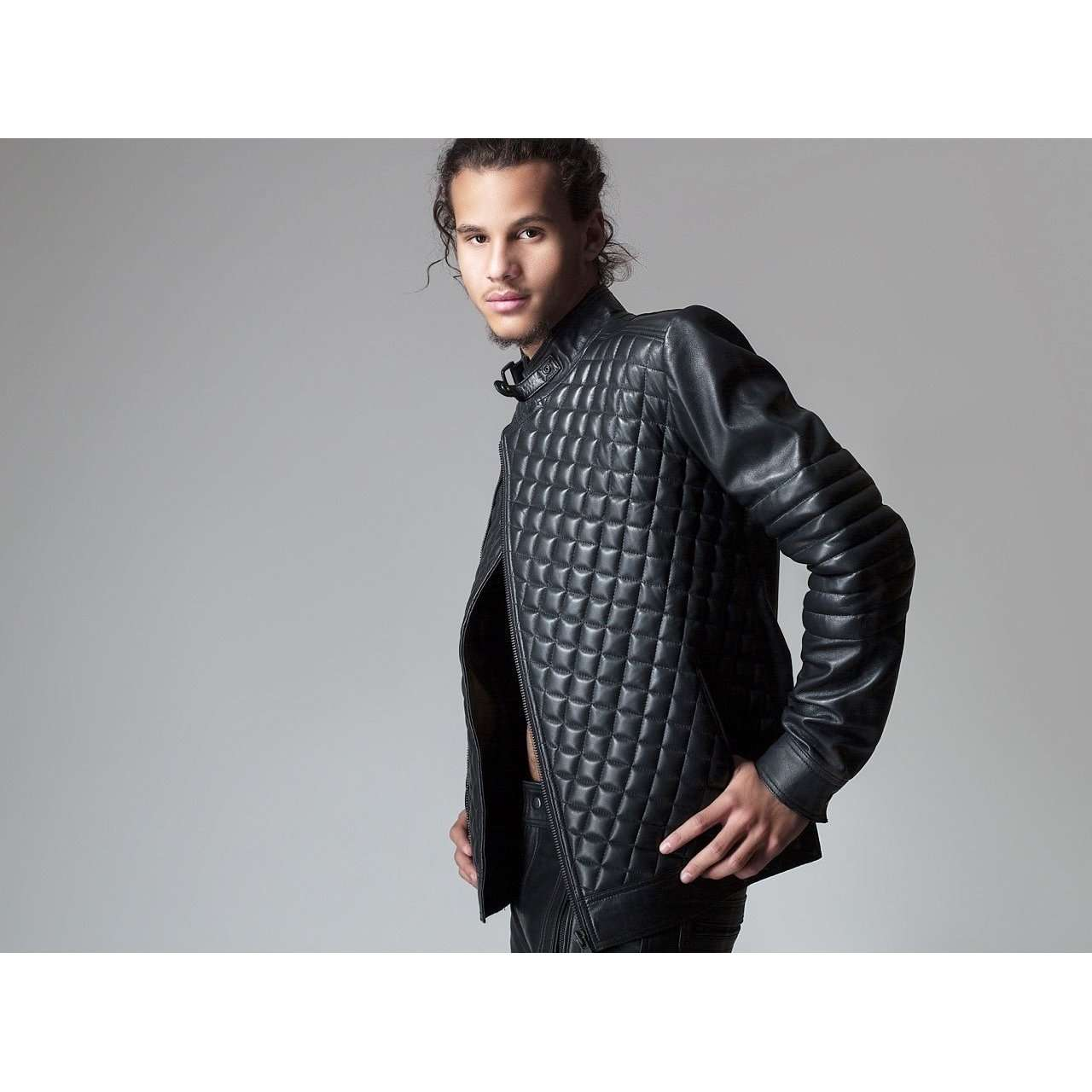 REHBAR - FUTURISTIC QUILTED LEATHER JACKET